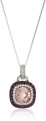 Swarovski Platinum-Plated Crystal Crystal Cushion Double Halo Pendant Necklace 18""