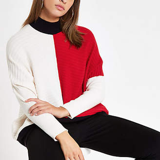 River Island Womens Red ribbed knit colour block jumper