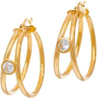 Diamonique 9/10 cttw Split Hoop Earrings, Sterling