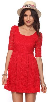 Forever 21 Fit-And-Flare Lace Dress