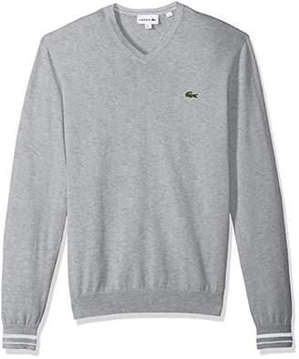 Lacoste Men's Long Sleeve Semi Fancy Jersey V-Neck Sweater