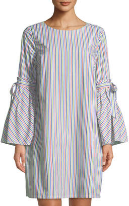 Label By 5twelve Bow-Sleeve Striped Shift Dress