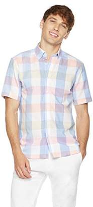 Clifton Heritage Men's Classic Fit Short-Sleeve Colorful Gingham Button-Down Casual Shirt XS