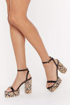 Nasty Gal Can't Snake My Eye Off You Faux Leather Platform Heels