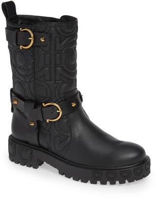 Salvatore Ferragamo Quilted Biker Boot