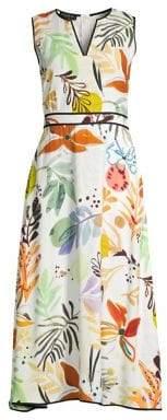 Lafayette 148 New York Women's Janelle Sleeveless Fiore Print Dress - Cloud Multi - Size 2