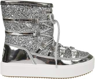 Chiara Ferragni Glittery Coated Laced-up Metallic Boots