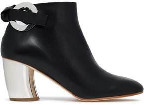 Proenza Schouler Eyelet-Embellished Leather Ankle Boots