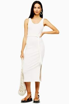 fb5e2605b79b Topshop Womens Ribbed Belted Column Dress - Cream