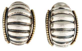 Lagos Two-Tone Ribbed Earclip Earrings