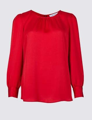Marks and Spencer Satin Round Neck Long Sleeve Blouse