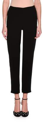 Giorgio Armani Cropped Straight-Leg Ankle-Zip Pants, Black