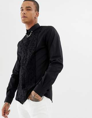 Twisted Tailor skinny fit shirt with lace panel and collar chain