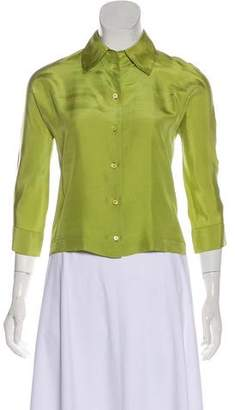 Prada Long Sleeve Silk Blouse