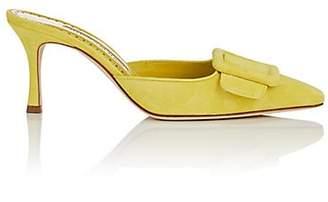 Manolo Blahnik Women's Maysale Suede Mules - Yellow Suede
