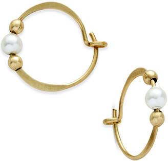 Jody Coyote 12k Gold-Filled Imitation Pearl Beaded Hoop Earrings
