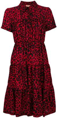 No.21 leopard-print tiered shirt dress