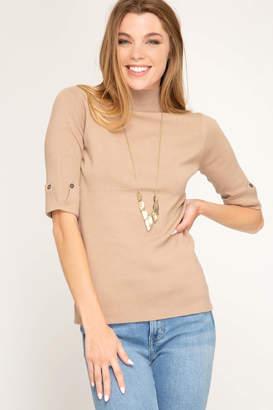 She + Sky Mock Neck Sweater