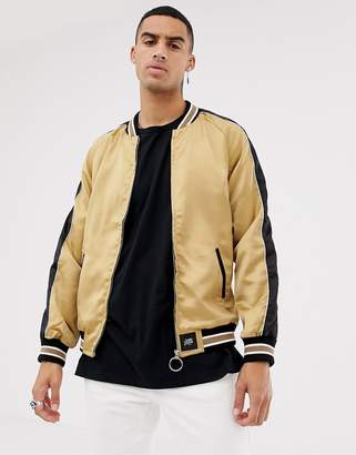 Sixth June satin bomber in gold with side stripe