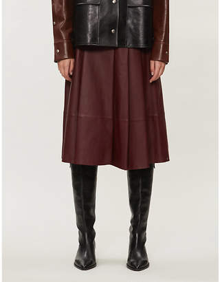 Sportmax Donata high-waisted A-line leather skirt