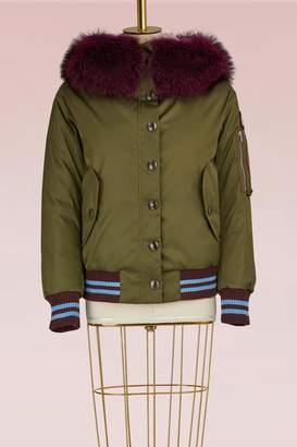 Miu Miu Military Bomber Jacket with Colored Fur Collar