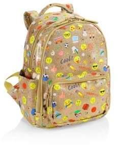Emoji-Print Glitter Mini Backpack