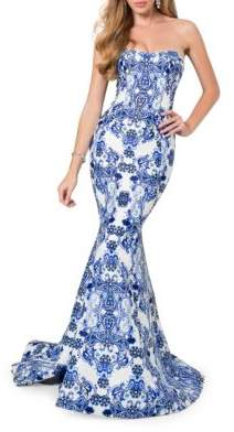 Terani Couture Glamour by Paisley-Print Strapless Train Gown