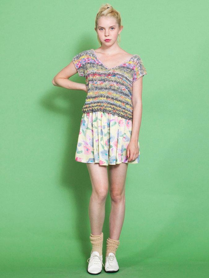 Vintage Pastel Floral Mini Skirt