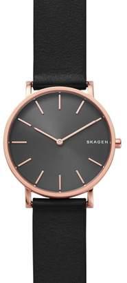 Skagen Hagen Slim Leather Strap Watch, 38mm