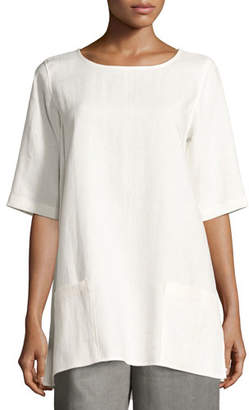 Caroline Rose Half-Sleeve Two-Pocket Linen Tunic, Petite