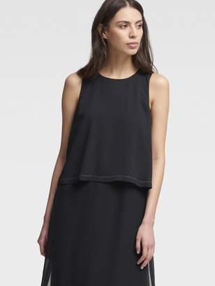 DKNY Contrast-Stitch Midi Dress