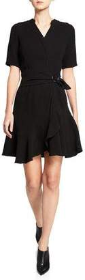 Shoshanna Magari Short-Sleeve Faux-Wrap Dress w/ Side Buckle