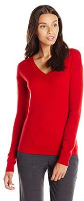 Lark & Ro Women's 100% Cashmere Soft Side-Stitch V-Neck Sweater
