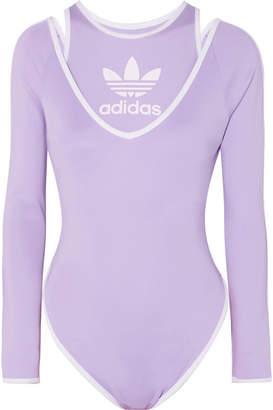 adidas + Ji Won Choi Layered Striped Stretch-jersey Bodysuit - Purple 623437989c6e9
