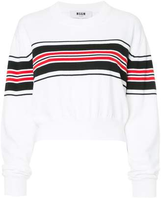 MSGM cropped stripe panel sweater