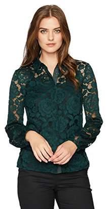 Lark & Ro Women's Lace Shirt with Poet Sleeve