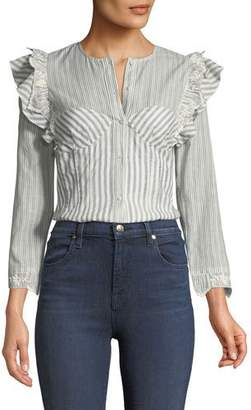 Rebecca Taylor Long-Sleeve Striped Corset Top w/ Embroidery Trim