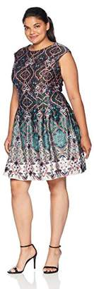 Gabby Skye Women's Plus Size Printed Fit and Flare Dress