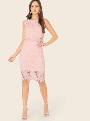 Shein Guipure Lace Tank Top & Pencil Skirt Set