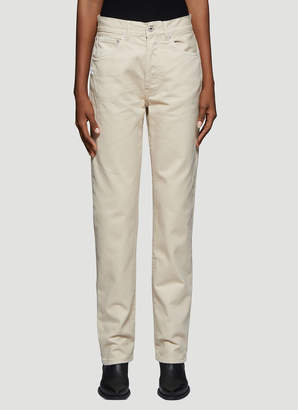 Off-White Off White Diag Straight Leg Jeans in Beige