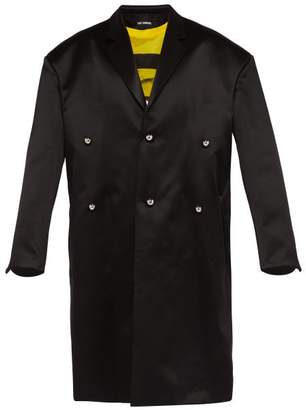 Raf Simons Oversized Wool Blend Duchess Satin Overcoat - Mens - Black