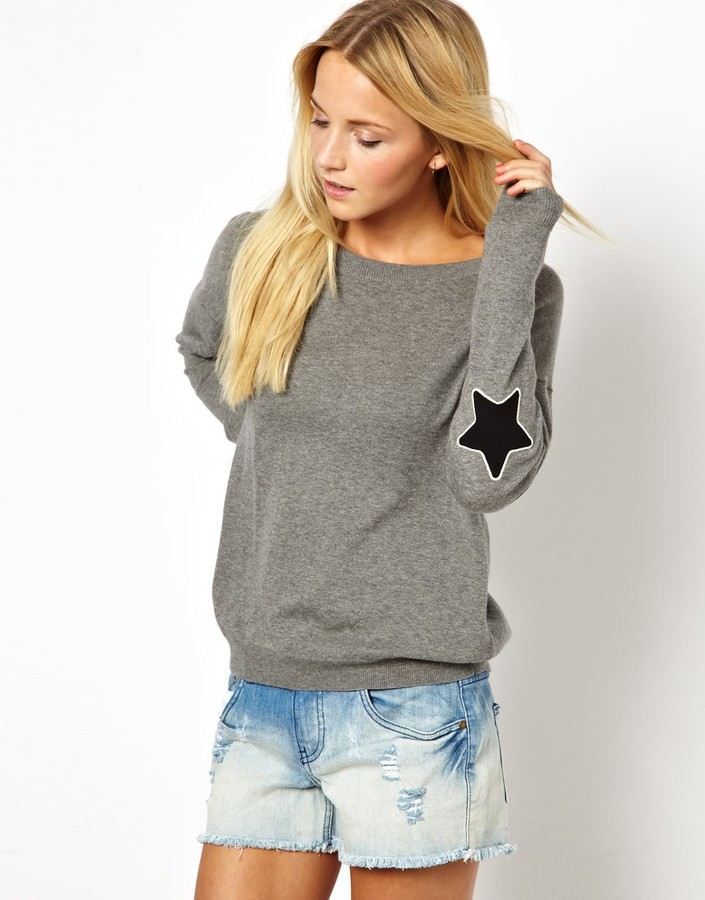 Asos Jumper With Star Elbow Patch