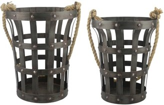 STONEBRIAR COLLECTION Set of 2 Riveted Rustic Metal Baskets