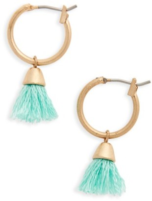 Women's Canvas Jewelry Tassel Hoop Earrings $14 thestylecure.com