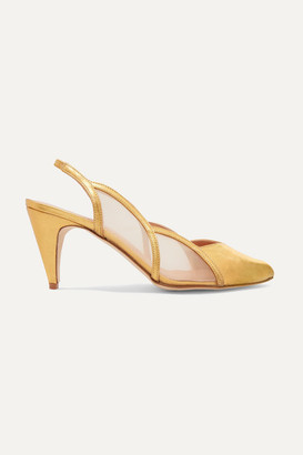 REJINA PYO Alison Metallic Leather And Mesh Slingback Pumps - Gold