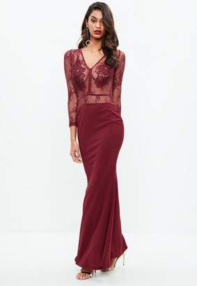 Missguided Burgundy Lace Applique Plunge Crepe Maxi Dress