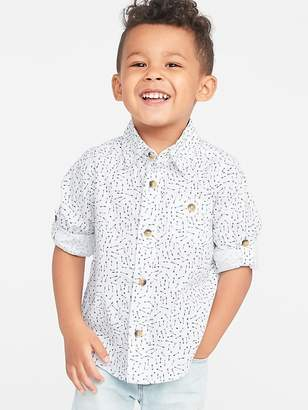 Old Navy Built-In Flex Roll-Sleeve Arrow-Print Pocket Shirt for Toddler Boys