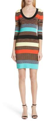 Diane von Furstenberg Ribbed Stripe Body-Con Sweater Dress