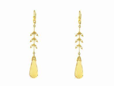 Cathy Waterman Long Faceted Citrine Wheat Earrings in 22 Karat Gold