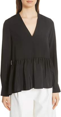 Tibi Silk Crepe de Chine Peplum Top